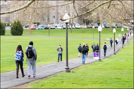 College students walk on pathway to campus