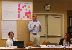 Matt Combs presents at the CCC Education Planning Initiative Steering Committee meeting in Sacramento.