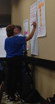 Susan Carey creates a user story at the EPI's Student Services Portal Steering Committee meeting.