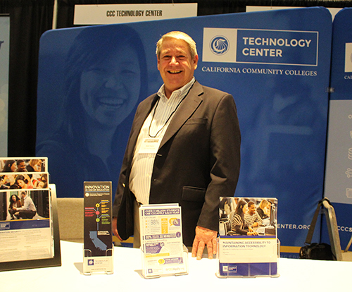 Keith Franco, Statewide Services, mans the CCC Tech Center booth on the conference exhibition floor. District and college personnel interested in any of the services of the CCC Tech Center and its various programs are encouraged to contact Keith at (530) 520-3471 or kfranco@ccctechcenter.org. Visit CCCTechCenter.org for more information.