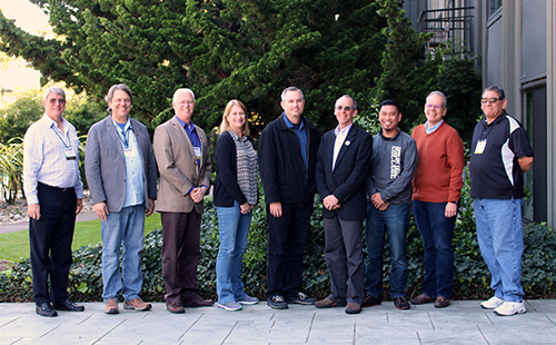 The board of directors of the Chief Information Systems Officers Association. From left to right: Tom Onwiler (North Region Rep/Butte-Glenn CCD), Ben Seaberry (North VP/San Jose-Evergreen CCD), Gary Moser (Treasurer/Kern CCD), Deborah Ludford (Secretary/North Orange County CCD), Jim Temple (President/Santa Clarita CCD), Scott Conrad (South Region Rep/Santa Rosa CCD), Michael Dioquino (South Region Rep/Antelope Valley CCD), Fred Rocha (South Region Rep/North Orange County CCD), Adrian Agundez (South VP/West Kern CCD).