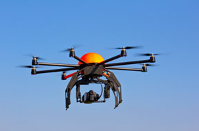Coming to a sky near you? This unmanned aerial vehicle, known as an Octocopter, is used for video and photo production.