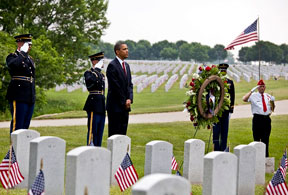 President Barack Obama after laying a wreath at Abraham Lincoln National Cemetery in Elwood, Illinois, on Memorial Day, May 31, 2010. Official White House Photo by Pete Souza.
